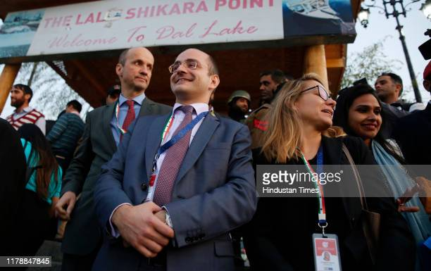 Delegation of European Union lawmakers waits to take a local shikara ride in the Dal Lake, on October 29, 2019 in Srinagar, India. A 27-member...
