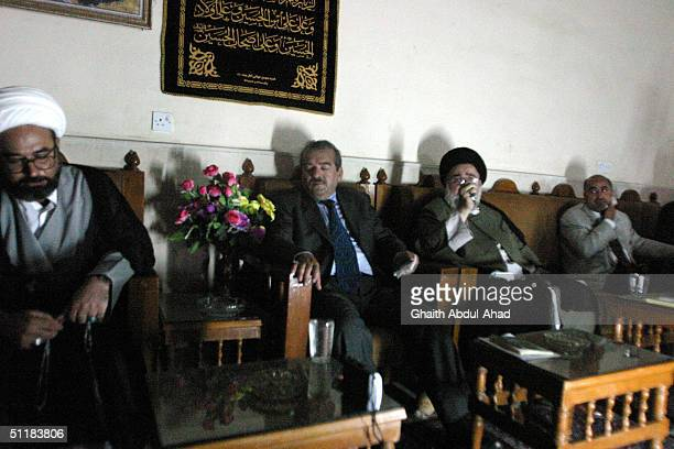 Delegation of members of the Iraqi National Conference, led by Hussein al-Sadr , meets with clerics loyal to the radical Shiite cleric Moqtada...