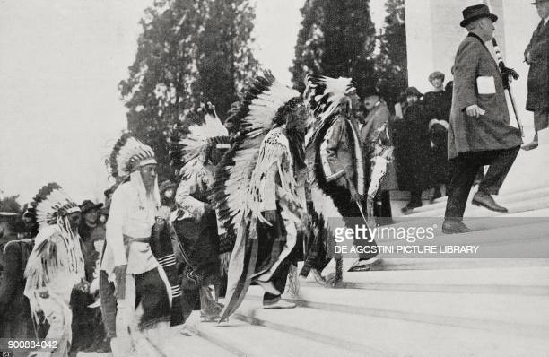 A delegation of Native Americans arriving to honour the Unknown Soldier in the Arlington National Cemetery Washington United States of America from...