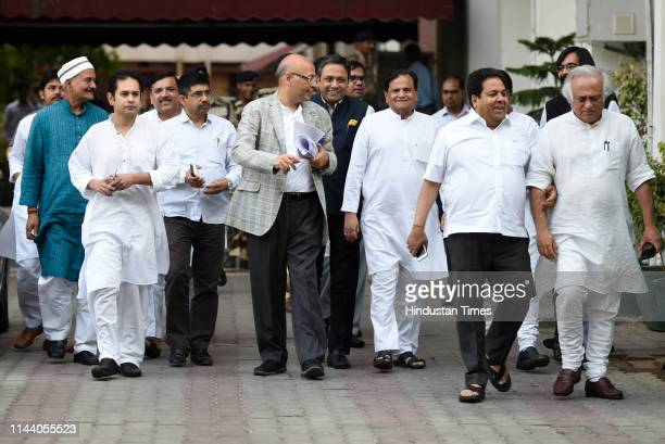 A delegation of opposition leaders including Congress party leaders Abhishek Manu Singhvi Ahmed Patel Jairam Ramesh Rajiv Shukla AAP party leader...
