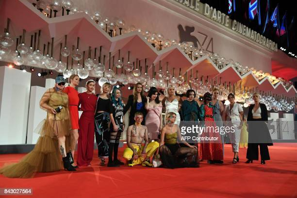 A delegation of the movie Team Hurricane by Annika Bergat poses on the red carpet as part of the Venice International Film Critics' Week at the 74th...