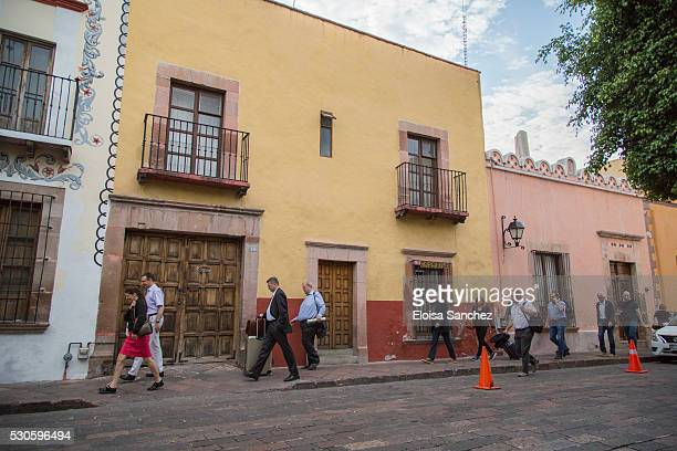 Delegation walks to Casa de Cuna led by their new elected president Reihard Grindel on May 11 2016 in Queretaro Mexico