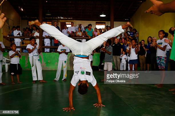 DFB delegation watch a capoeira presentation during a visit at Associacao Filhos do Ceu on June 18 2014 in Porto Seguro Bahia Brazil