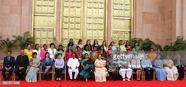 Delegations and Chief Guest pose for group photograph as they come toattend BRICS 2016 Women Parliamentarians Meeting at Rajasthan Assembly in Jaipur...