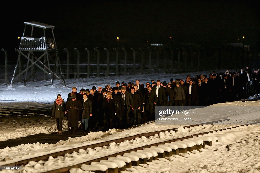 Delegations and survivors make their way to lay candles at the Birkenau Memorial during the commemoration of the 70th anniversary of the liberation of Auschwitz concentration camp on January 27, 2015 in Oswiecim, Poland. International heads of state, dignitaries and over 300 Auschwitz survivors are attending the commemorations for the 70th anniversary of the liberation of Auschwitz by Soviet troops on 27th January, 1945. Auschwitz was among the most notorious of the concentration camps run by the Nazis during WWII and whilst it is impossible to put an exact figure on the death toll it is alleged that over a million people lost their lives in the camp, the majority of whom were Jewish.