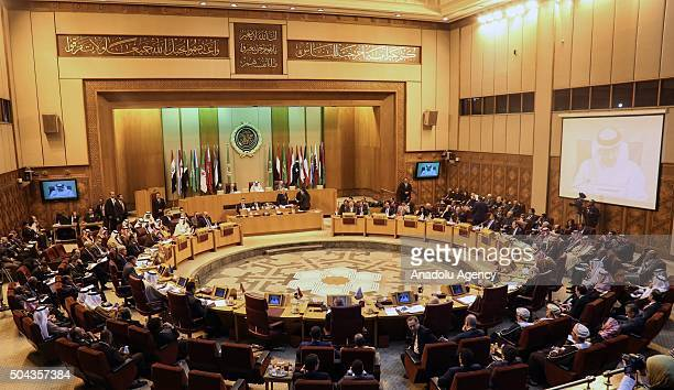 Delegations are seen during emergency meeting of Arab League foreign ministers on Iran's intervention over the region's countries at the Arab League...