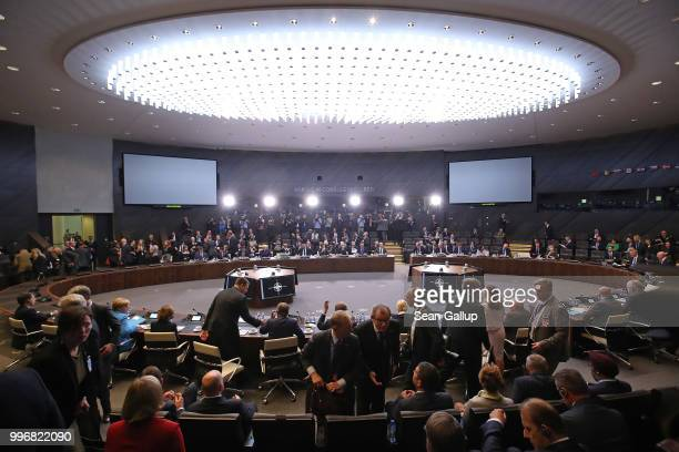 Delegations arrive for a working session of NATO leaders and the delegations from Ukraine and Georgia at the 2018 NATO Summit on July 12 2018 in...
