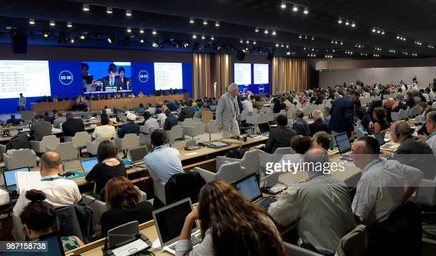 Delegations attend the United Nations Educational Scientific and Cultural Organization's 42nd session of the world heritage meetings in the Bahraini...