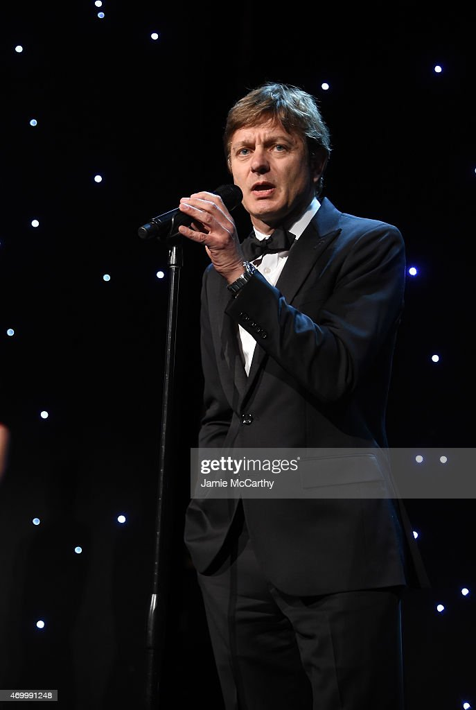 Delete Blood Cancer Award Recipient Marcel R.M. van den Brink MD, PhD speaks onstage during the 9th Annual Delete Blood Cancer Gala on April 16, 2015 in New York City.