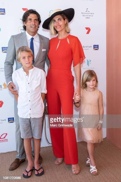 Delfina Blaquier and Nacho Figueras with their children Artemio and Alba attend the Moet Marquee Magic Millions Raceday at the Gold Coast Turf Clubon...