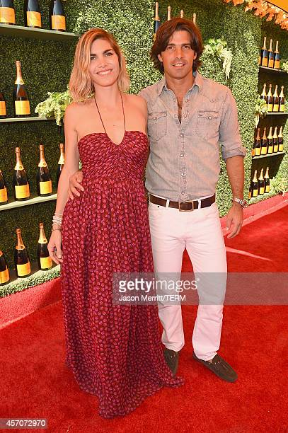 Delfina Blaquier and polo player Nacho Figueras attend the FifthAnnual Veuve Clicquot Polo Classic at Will Rogers State Historic Park on October 11...