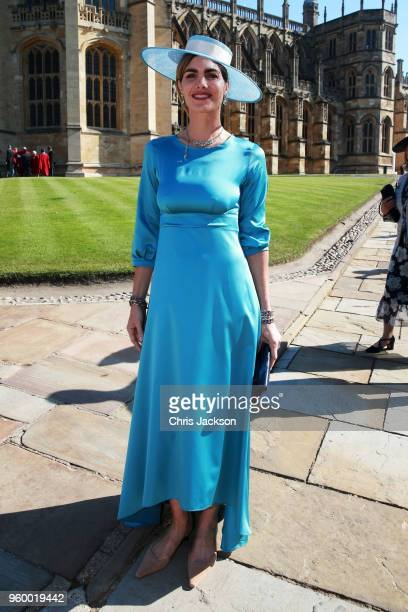 Delfina Blaquier arrives at the wedding of Prince Harry to Ms Meghan Markle at St George's Chapel Windsor Castle on May 19 2018 in Windsor England