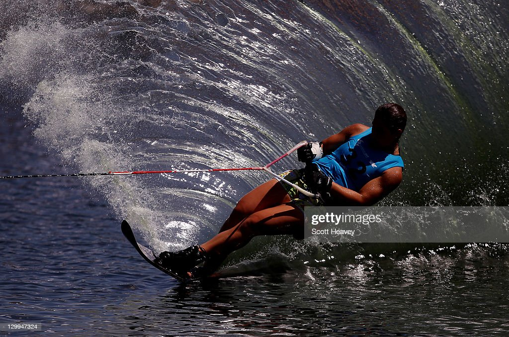 Delfina Cuglievan of Peru during the Women's Slalom Overall at Boca Laguna Water Ski Club during Day Eight of the XVI Pan American Games on October 22, 2011 in Guadalajara, Mexico.