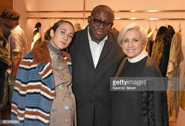 Delfina Delettrez Edward Enninful and Silvia Venturini Fendi attend the FENDI Sloane Street boutique opening on December 14 2017 in London England