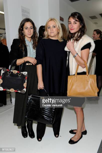 Delfina Delettrez Fendi, Silvia Venturini Fendi and Ambra Medda attend the Fendi Milan Fashion Week Autumn/Winter 2010 show on February 25, 2010 in...