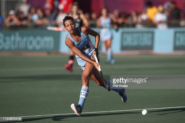 Delfina Marino of Argentina passes during the Women's FIH Field Hockey Pro League match between New Zealand and Argentina at North Harbour Hockey...