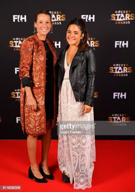 Delfina Merino and Maria Granatto of Argentina pose for a picture during the Hockey Star Awards night at Stilwerk on February 5 2018 in Berlin Germany