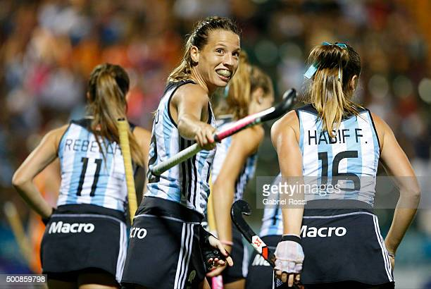 Delfina Merino of Argentina and teammates celebrate their team's first goal during a match between Netherlands and Argentina as part of Day 6 of the...