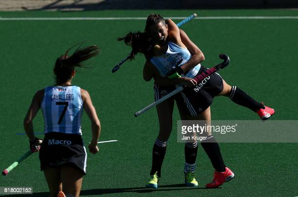 Delfina Merino of Argentina celebrates scoring her sides first goal with her team mate Maria Granatto during day 6 of the FIH Hockey World League...