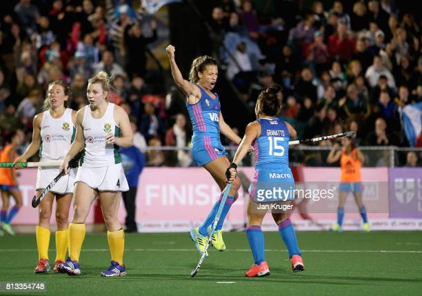 Delfina Merino of Argentina celebrates scoring their teams second goal with Maria Granatto of Argentina during day 3 of the FIH Hockey World League...