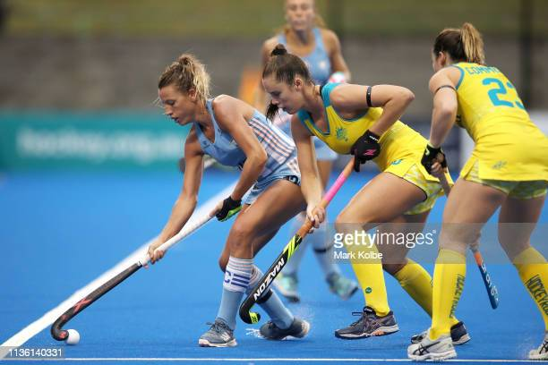 Delfina Merino of Argentina controls the ball during the Women's FIH Field Hockey Pro League match between Australia and Argentina at Sydney Olympic...