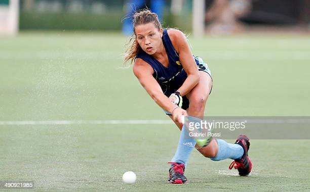 Delfina Merino of Argentina hits a shot during a training session as part of Argentina Female Hockey Team preparation for Hockey World Cup The Hague...