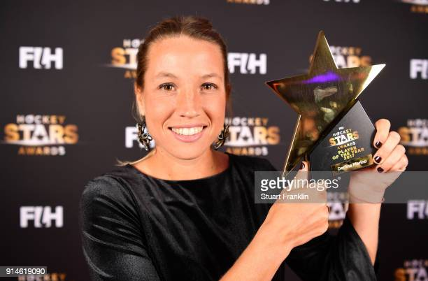 Delfina Merino of Argentina holds her award for player of the year during the Hockey Star Awards night at Stilwerk on February 5 2018 in Berlin...