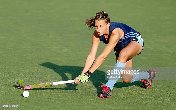 Delfina Merino of Argentina receives the ball with the stick during a training session as part of Argentina Female Hockey Team preparation for Hockey...