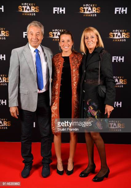 Delfina Merino of Argentina with her parents pose for a picture during the Hockey Star Awards night at Stilwerk on February 5 2018 in Berlin Germany