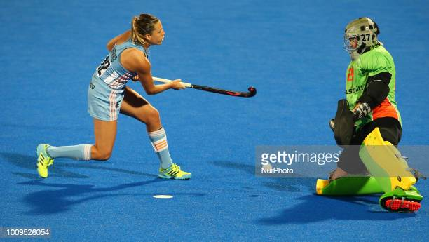 Delfina of Argentina and LYNCH Rachael of Australia in a penalty shoot out during FIH Hockey Women's World Cup 2018 Day 11 match Quarter Final game...