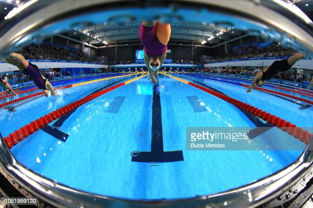 Delfina Pignatiello of Argentina competes in Women's 400m Freestyle Final at Aquatics Center in the Youth Olympic Park on October 12 2018 in Buenos...