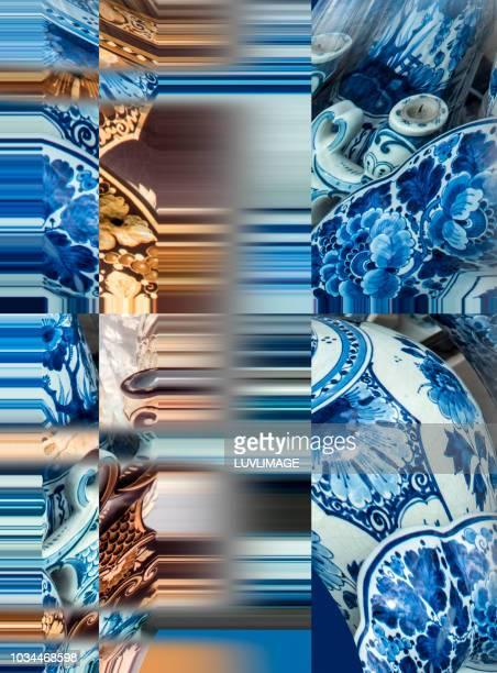 delft's blauw ceramiek compositie. - blauw stock pictures, royalty-free photos & images