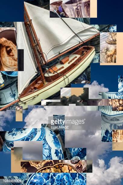 delft's blauw en hollandse luchten. - blauw stock pictures, royalty-free photos & images