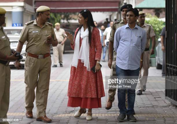 Delhi AAP MLA Alka Lamba with Naresh Balyan at the Election Commission as they were called for personal hearing on May 17 2018 in New Delhi India