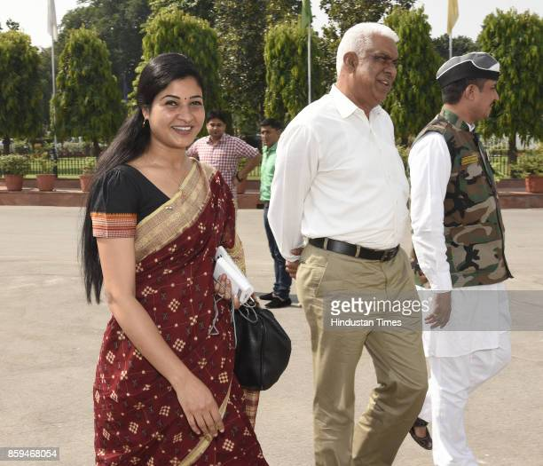 Delhi AAP MLAs Alka Lamba Madan Lal arrive to attend the session of the Legislative Assembly of National Capital Territory of Delhi in the Assembly...