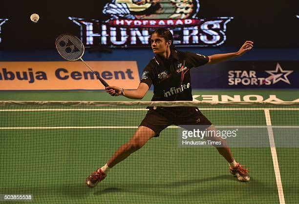 Delhi Acers player PC Thulasi in action against Supanida K of Hyderabad Hunters during the Premier Badminton League at Siri Fort Sports Complex on...