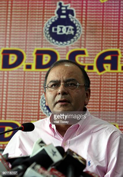 Delhi and District Cricket Association President Arun Jaitley speaks to the media at a press conference in New Delhi on Tuesday August 25...