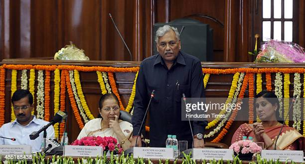 Delhi Assembly Speaker Ram Niwas Goel addresses the MLAs as Delhi Chief Minister Arvind Kejriwal Lok Sabha Speaker Sumitra Mahajan Deputy Speaker...