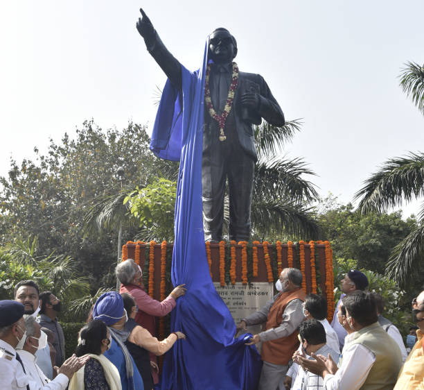 IND: Delhi BJP Chief Adesh Gupta Inaugurates A Statue Of Dr. Bhimrao Ambedkar At North DMC HQ