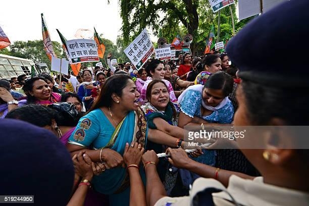 Delhi BJP Mahila Morcha demonstration at congress office 24 akbar road against raksha bandhan remark by Ghulam Nabi Azad on June 29 2015 in New Delhi...