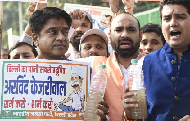 IND: Delhi BJP Members Protest Against The Supply Of Poor Quality Water By DJB