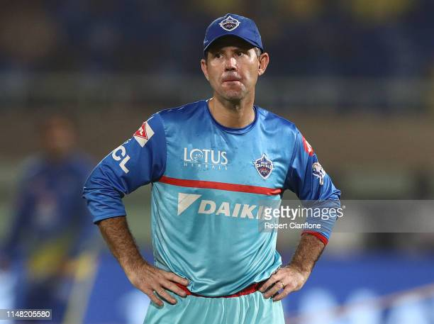 Delhi Capitals coach Ricky Ponting looks on prior to the Indian Premier League IPL Qualifier Final match between the Delhi Capitals and the Chennai...