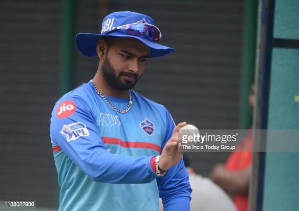 Delhi Capitals Player, Rishabh Pant clicked during a training session ahead of the Indian Premier League 2019 cricket match between Delhi Capitals...