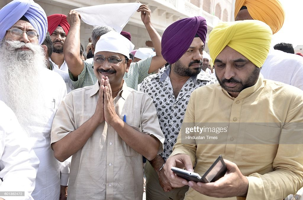 Delhi Chief Minister and Aam Aadami Party Chief Arvind Kejriwal Punjab AAP Convener Gurpreet Ghuggi and Bhagwant Mann along with other leaders...