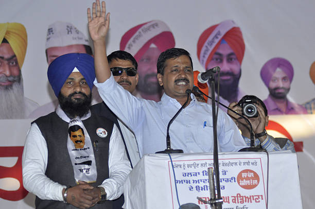 Delhi Chief Minister and AAP National Convener Arvind Kejriwal addressing during a public rally at Gorayan on November 25 2016 in Jalandhar India...
