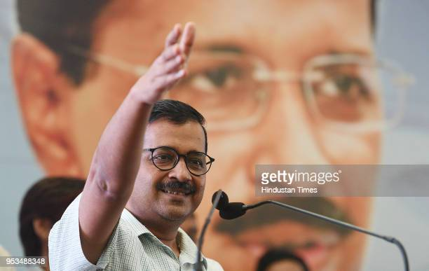 Delhi Chief Minister Arvind Kejriwal addresses labourers and employees during the Delhi Shramik Sammelan on the occasion of International Labour day...