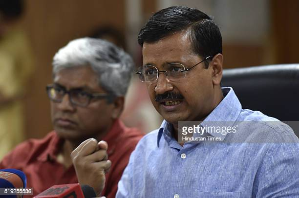 Delhi Chief Minister Arvind Kejriwal addressing a press conference at his residence on April 5 2016 in New Delhi India Attacking Prime Minister...