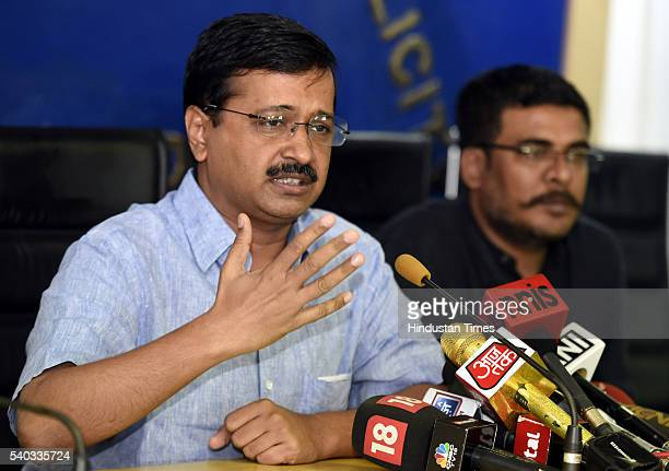 Delhi Chief Minister Arvind Kejriwal addressing a press conference on the issue of Parliamentary Secretary on June 15 2016 in New Delhi India Delhi...