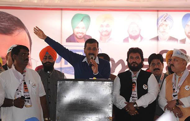 Delhi Chief Minister Arvind Kejriwal addressing a rally on December 10 2016 in Jalandhar India Kejriwal alleged that the entire family of Amarinder...