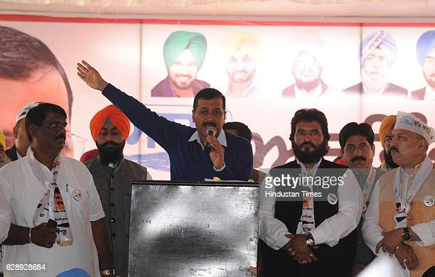 Delhi Chief Minister Arvind Kejriwal addressing a rally on December 10 2016 in Jalandhar India Kejriwal alleged that the entire family of Amarinder...